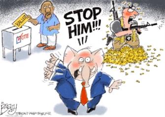 Political Cartoon U.S. gop mass shootings voter suppression