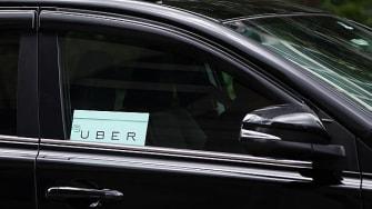 An Uber car.