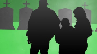 A family at a graveyard.