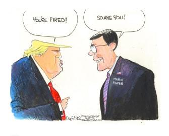 Political Cartoon U.S. Trump Mark Esper fired