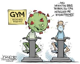 Editorial Cartoon U.S. gym reopening coronavirus