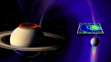 Between Saturn and its sixth largest moon is an electrical circuit that projects a shimmering path of light, as seen in this artist rendering.