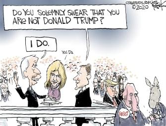 Political Cartoon U.S. Biden presidency Trump
