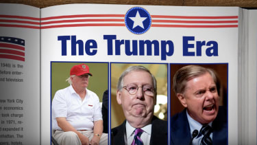 An image showing photos of Donald Trump, Mitch McConnell, and Lindsey Graham.