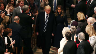 President Donald Trump at the National Cathedral in Washington.