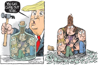 Political Cartoon U.S. Trump lockdown coronavirus