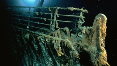 The Titanic's bow and railing 12,600 feet below the surface.