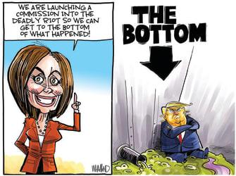 Political Cartoon U.S. pelosi trump capitol riot commission