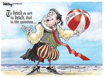 Political Cartoon U.S. Shakespeare DeSantis to beach or not reopening Florida