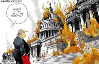 Political Cartoon U.S. Trump Capitol riots