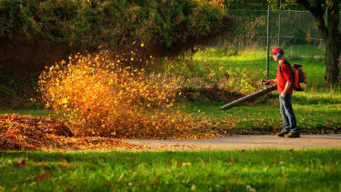 A leaf blower in action.