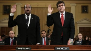 Former acting commissioner of the IRS, Steve Miller, right, and Treasury Inspector General for Tax Administration, J. Russell George, testify during a May 17 hearing.