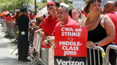 The Verizon strike in August accounted for a temporary loss of 45,000 jobs
