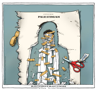 Political Cartoon World Trump Netanyahu Israel Palestine peace plan land rights