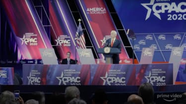 Vice President Mike Pence is seen speaking at CPAC in the trailer for Borat 2.