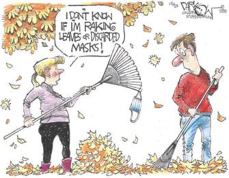 Editorial Cartoon U.S. leaves autumn COVID masks