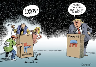 Political Cartoon U.S. Trump Dems Iowa elections