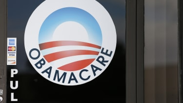 The ObamaCare logo appears on a door in Florida
