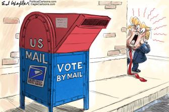 Political Cartoon U.S. Trump voting by mail fears