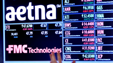 An Aetna Inc. logo on display at the New York Stock Exchange.