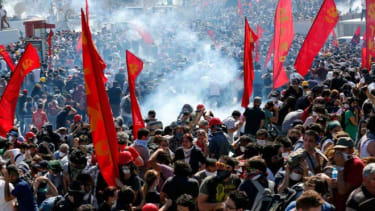 Riot police use tear gas to disperse demonstrators during an anti-government protest at Taksim Square in central Istanbul on June 1.