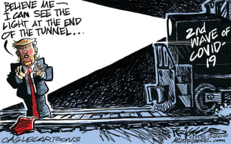 Political Cartoon U.S. Trump Coronavirus second wave