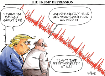 Political Cartoon U.S. Trump Coronavirus Wall Street decline responsibility chart