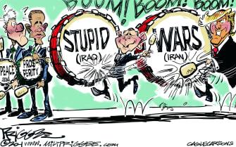 Political Cartoon U.S. Previous Presidents Middle East Policy Trump Iran War