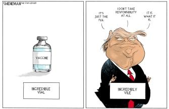 Political Cartoon U.S. Trump COVID vaccine
