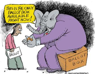 Political Cartoon U.S. GOP ballot box