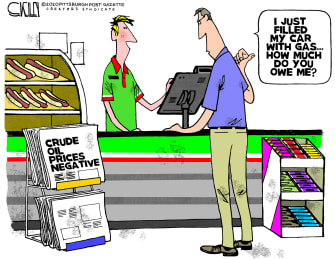 Editorial Cartoon U.S. gas tank full station owes driver crude oil plunges