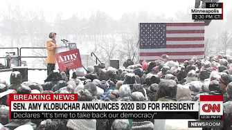Amy Klobuchar announces 2020 candidacy in a snowstorm