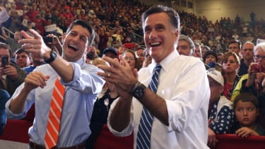 Paul Ryan and Mitt Romney while campaigning in 2012.