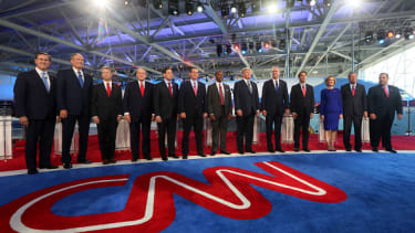 Republican candidates at the 2016 GOP debate.