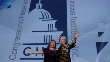 Rep. Linda Sanchez and Hillary Clinton
