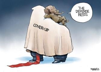 Editorial Cartoon U.S. Trump GOP Senate impeachment trial defense cover up
