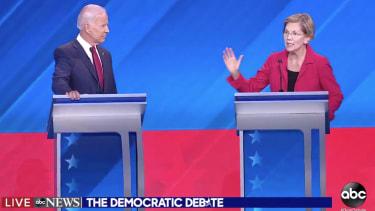 Sen. Elizabeth Warren and Joe Biden.