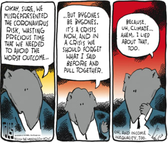 Political Cartoon U.S. coronavirus GOP lies climate change income inequality
