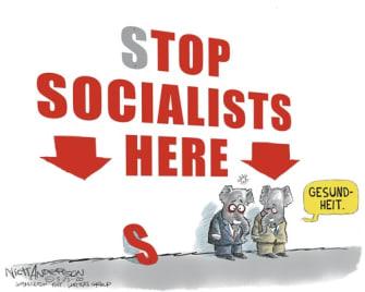 Political Cartoon U.S. Top socialist GOP stimulus check approved