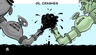 Editorial Cartoon World Oil crash arm wrestle Saudia Arabia Russia