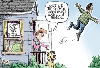 Editorial Cartoon U.S. mask mandate covid cdc