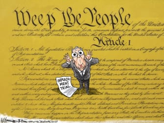 Political Cartoon U.S. Trump Mitch McConnell impeachment constitution taunting