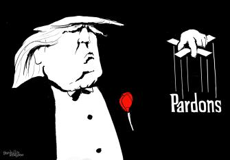 Political Cartoon U.S. Trump Godfather pardons