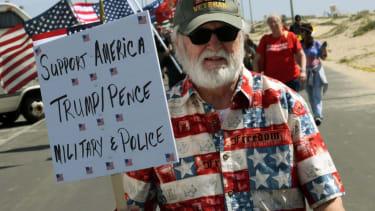 A Trump supporter at a Huntington Beach rally