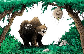 Editorial Cartoon U.S. russia hacking