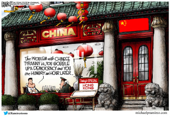 Political Cartoon World China Hong Kong