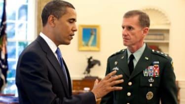 Barack Obama and Stanley McChrystal.