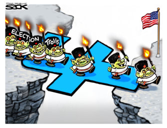 Editorial Cartoon U.S. Russia social media trolls election