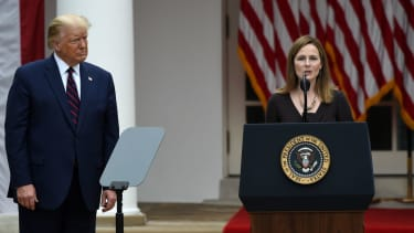 President Trump and Amy Coney Barrett.