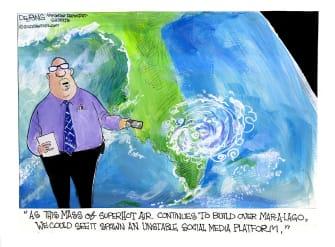 Political Cartoon U.S. trump mar a lago social media platform